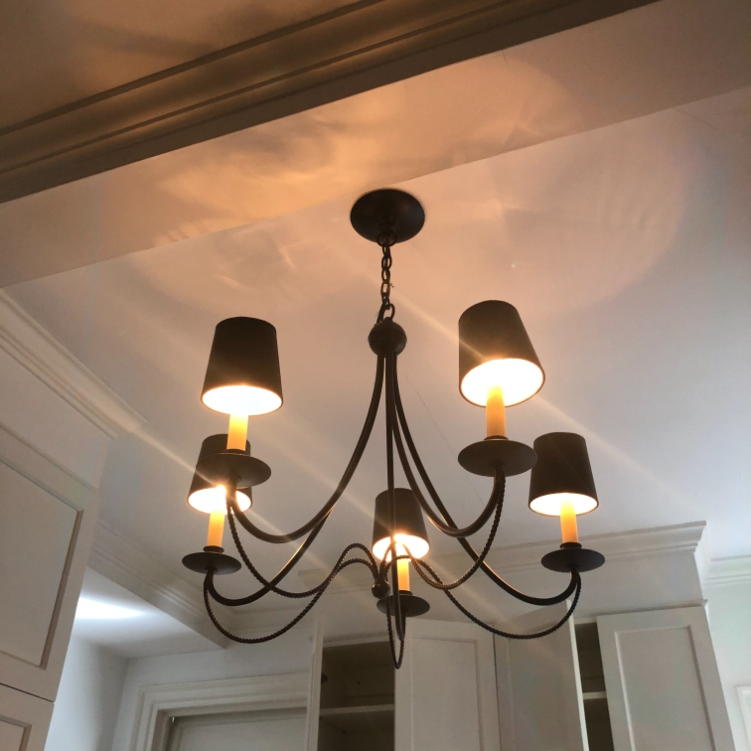 Forged Wrought Iron 5 Bulb Chandelier - image-2