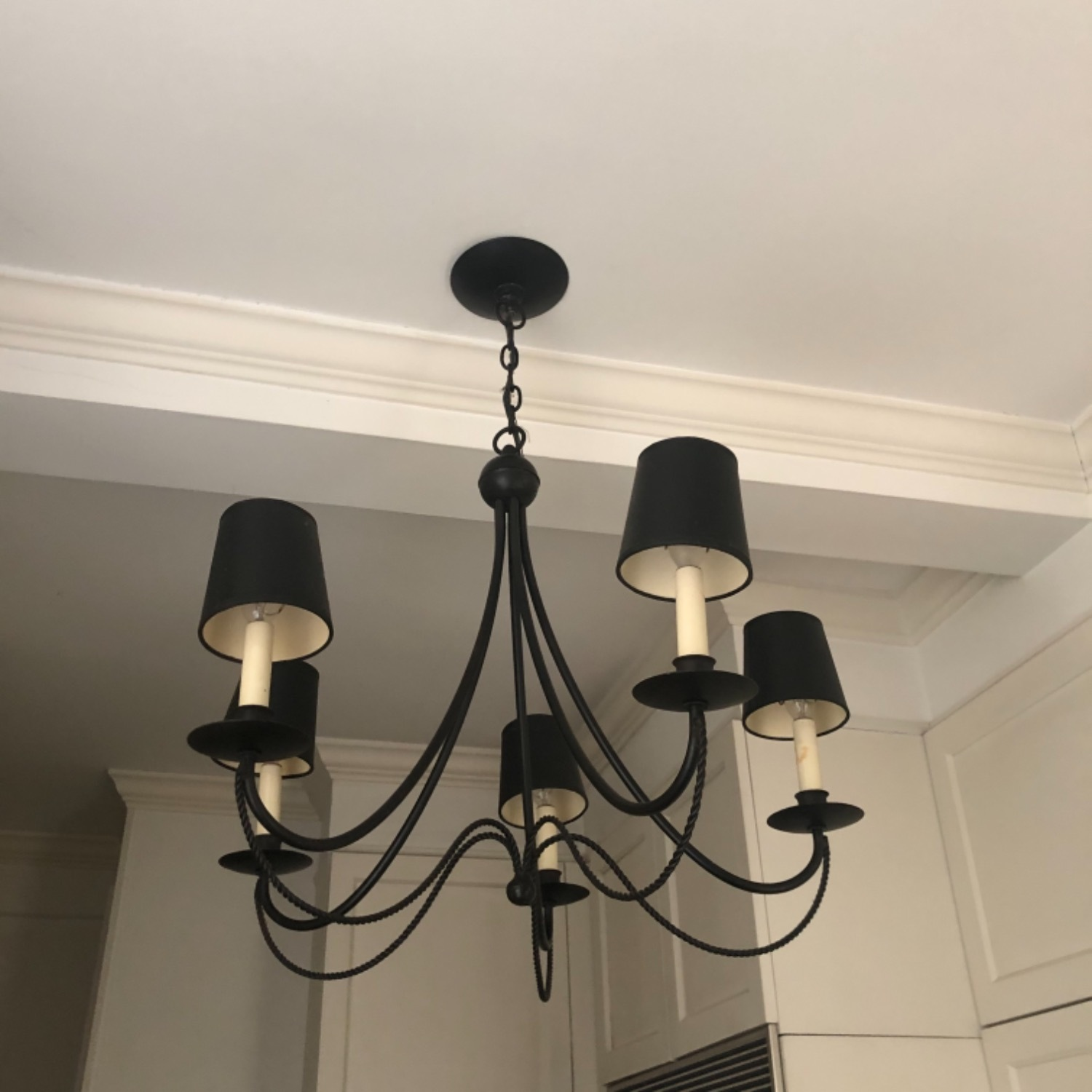 Forged Wrought Iron 5 Bulb Chandelier - image-5