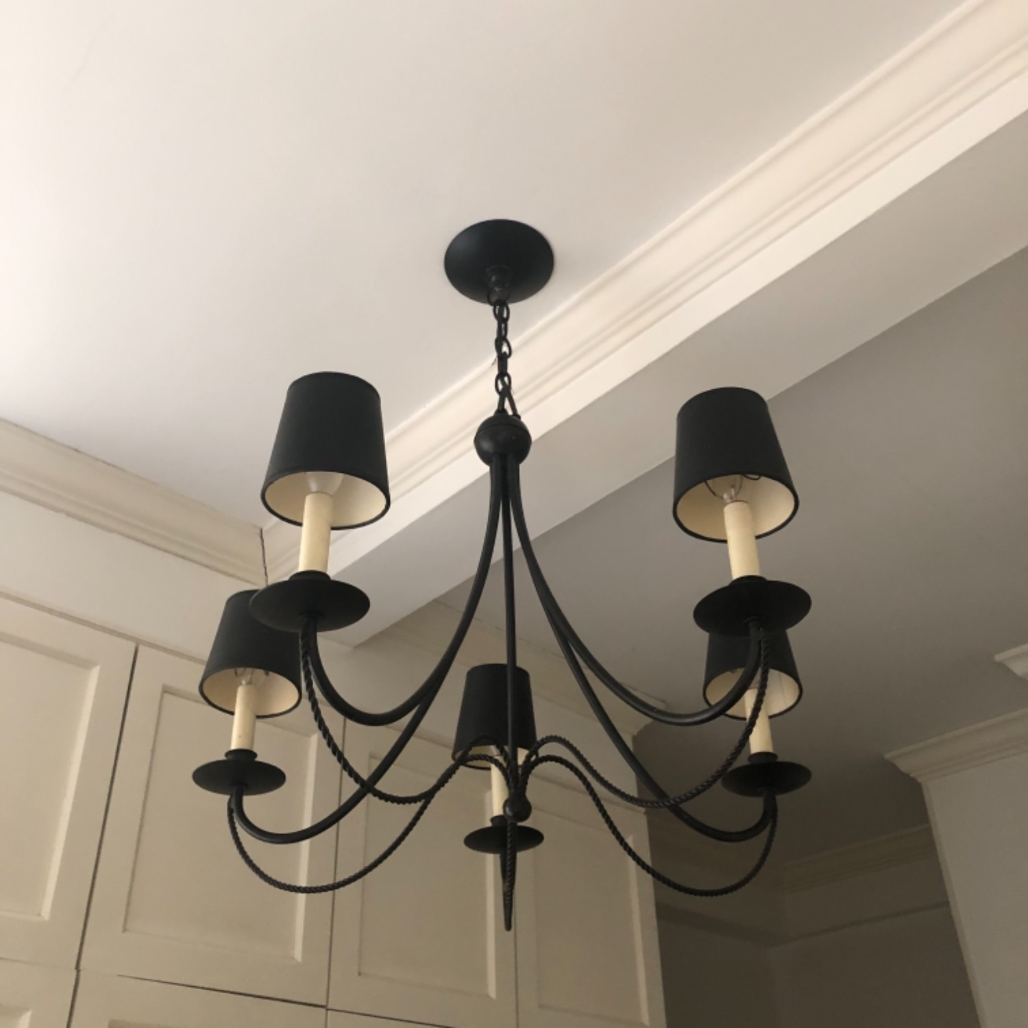 Forged Wrought Iron 5 Bulb Chandelier - image-3