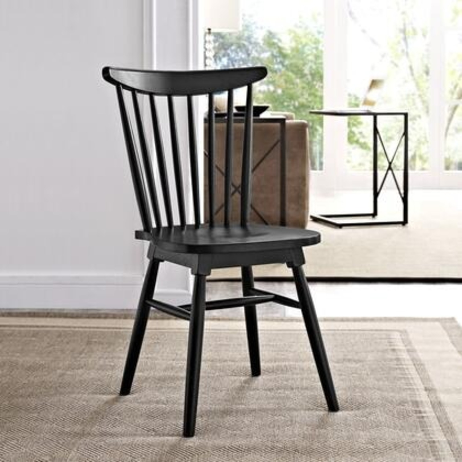 Contemporary Dining Chair In Black Elm Wood Finish - image-3