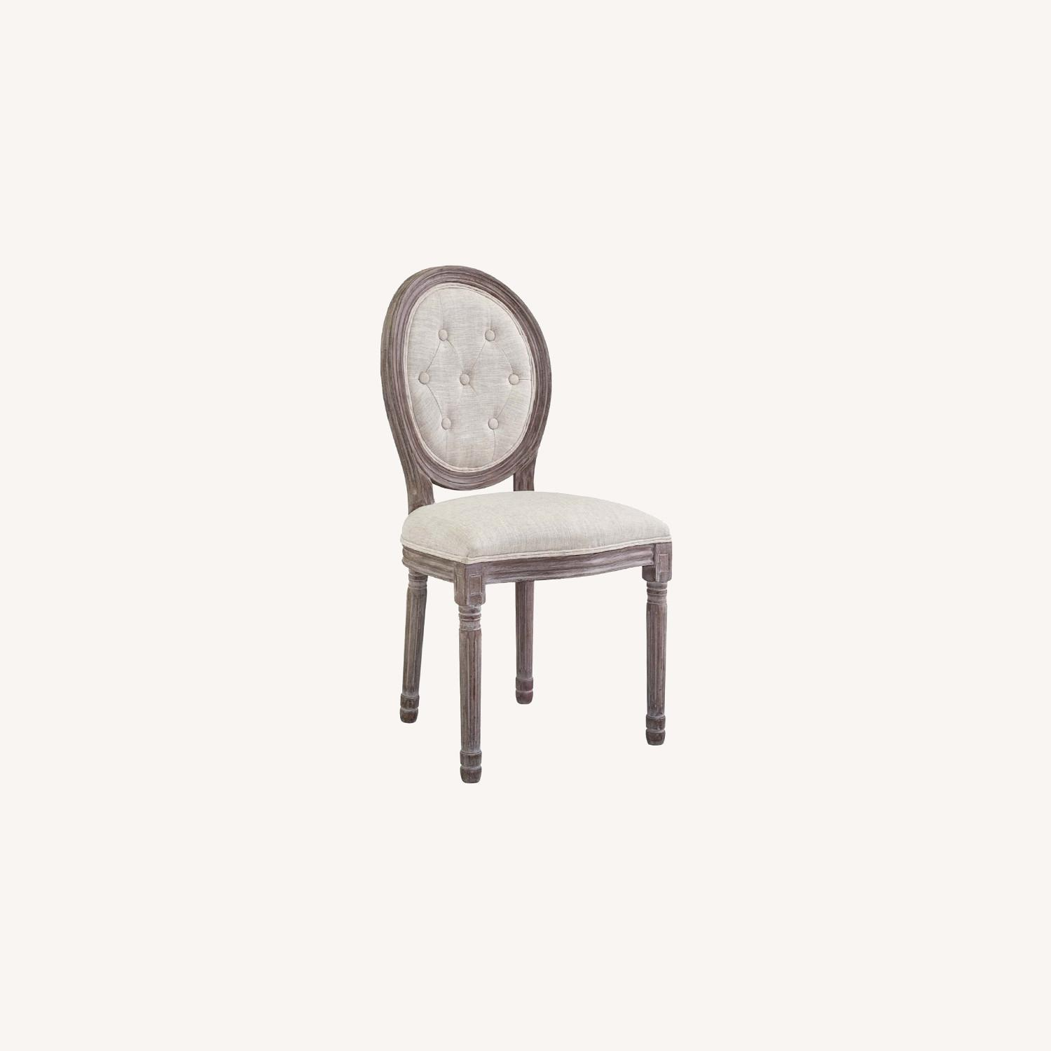 Traditional Dining Chair In Beige Fabric Finish - image-6