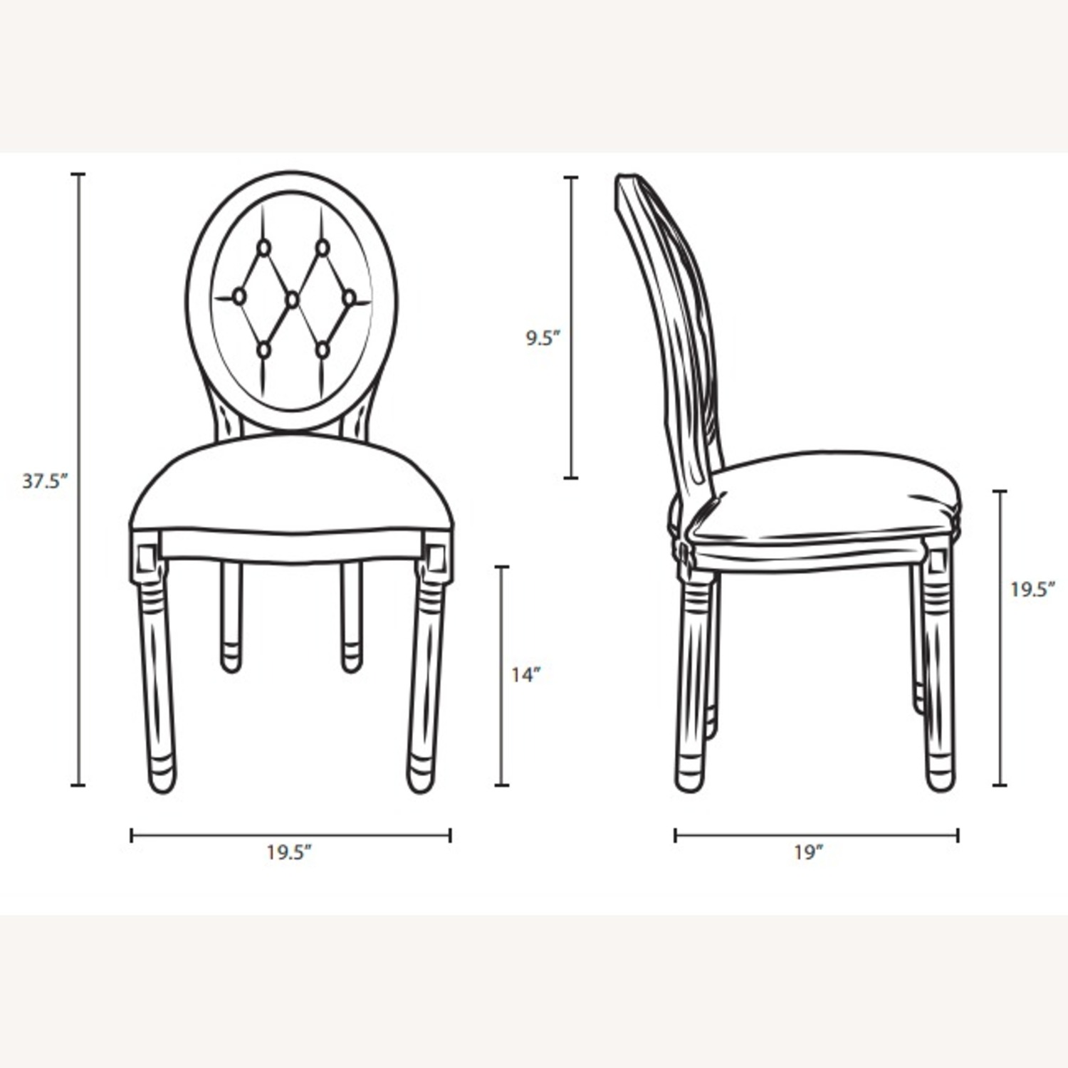 Traditional Dining Chair In Beige Fabric Finish - image-5