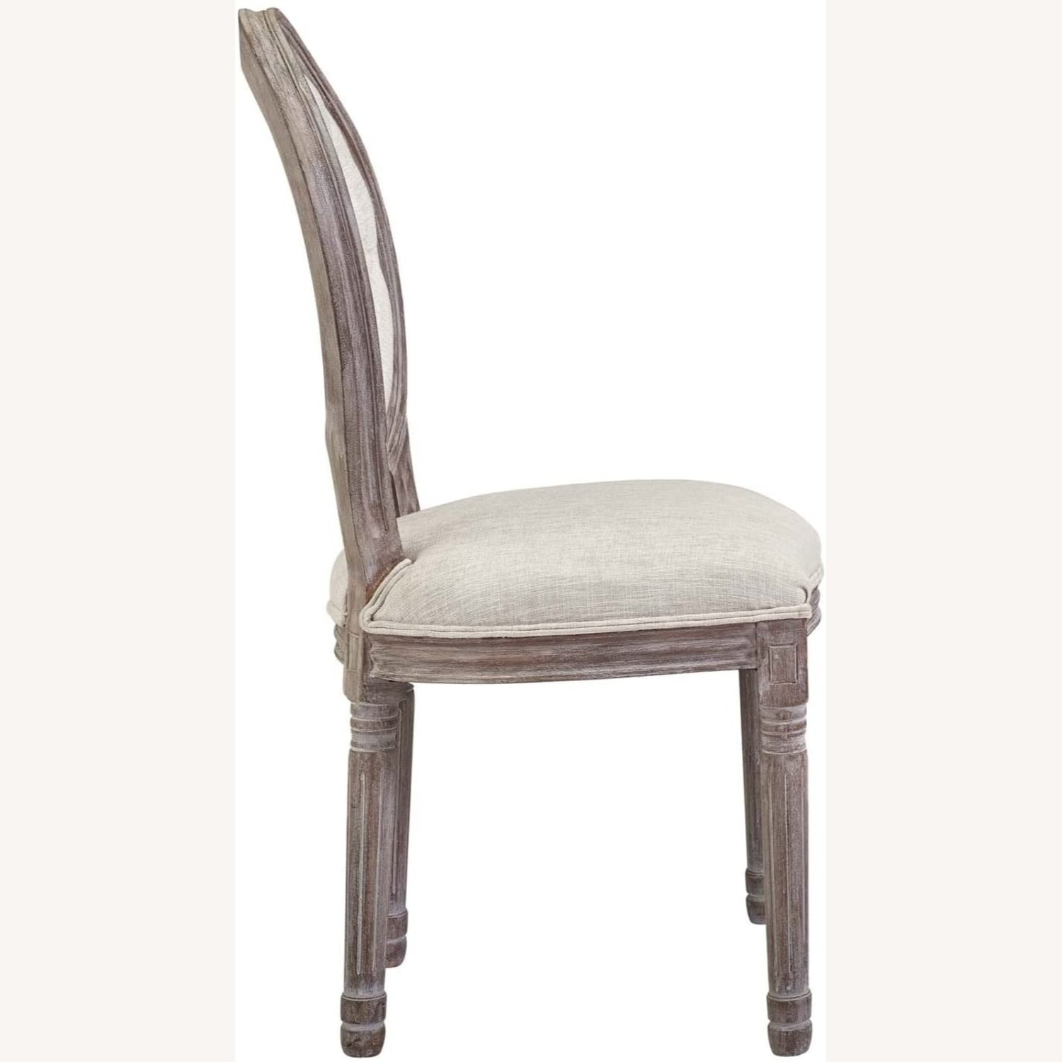 Traditional Dining Chair In Beige Fabric Finish - image-1