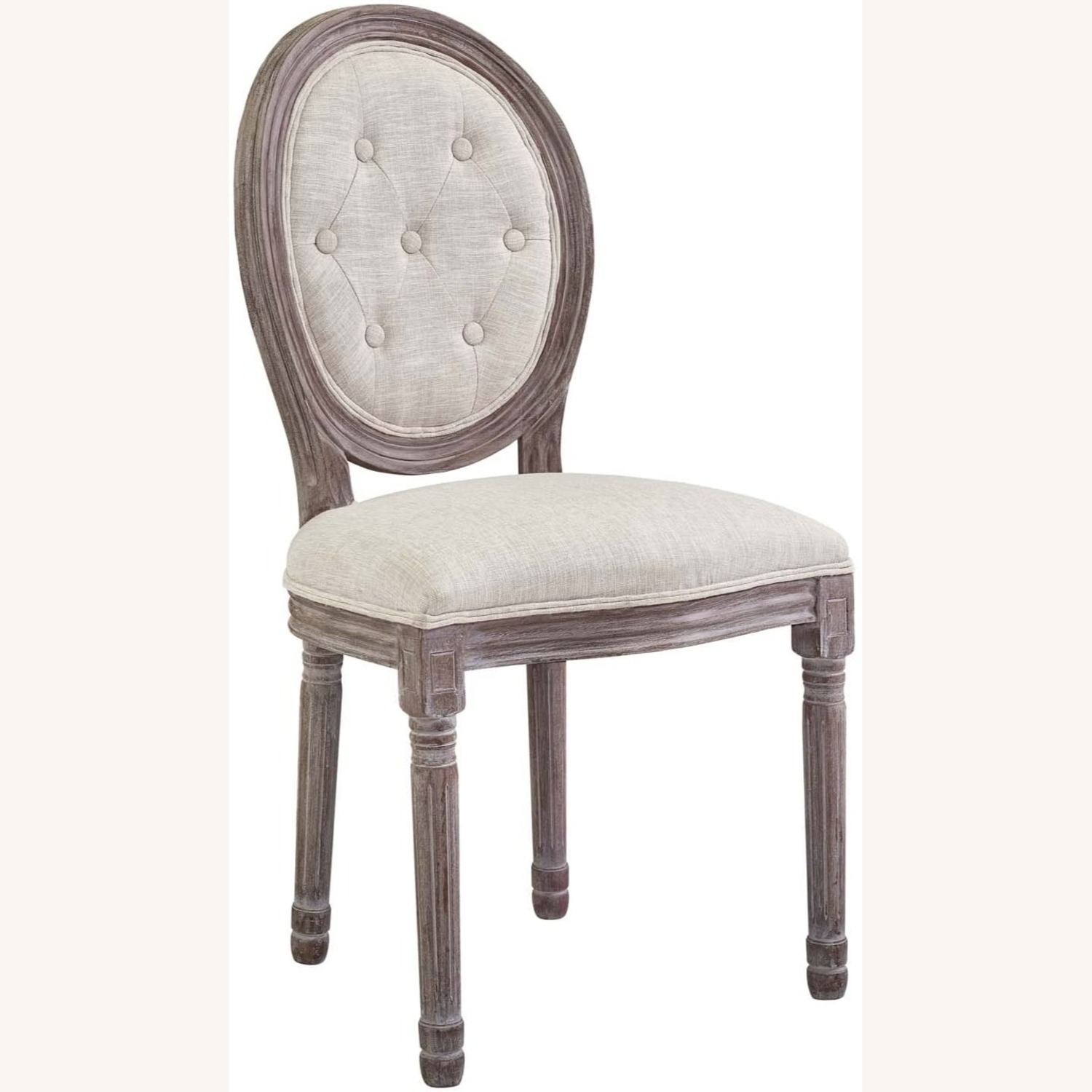 Traditional Dining Chair In Beige Fabric Finish - image-0