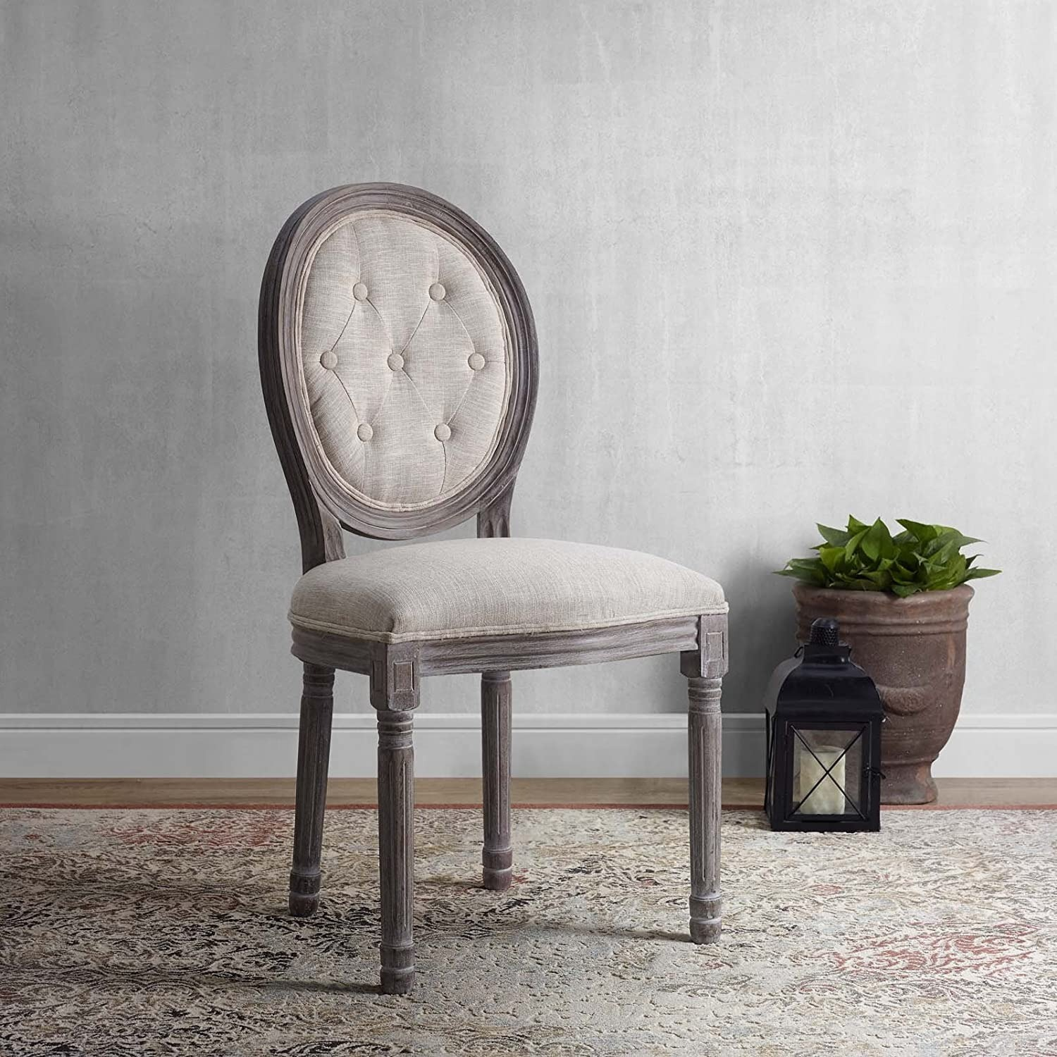 Traditional Dining Chair In Beige Fabric Finish - image-4