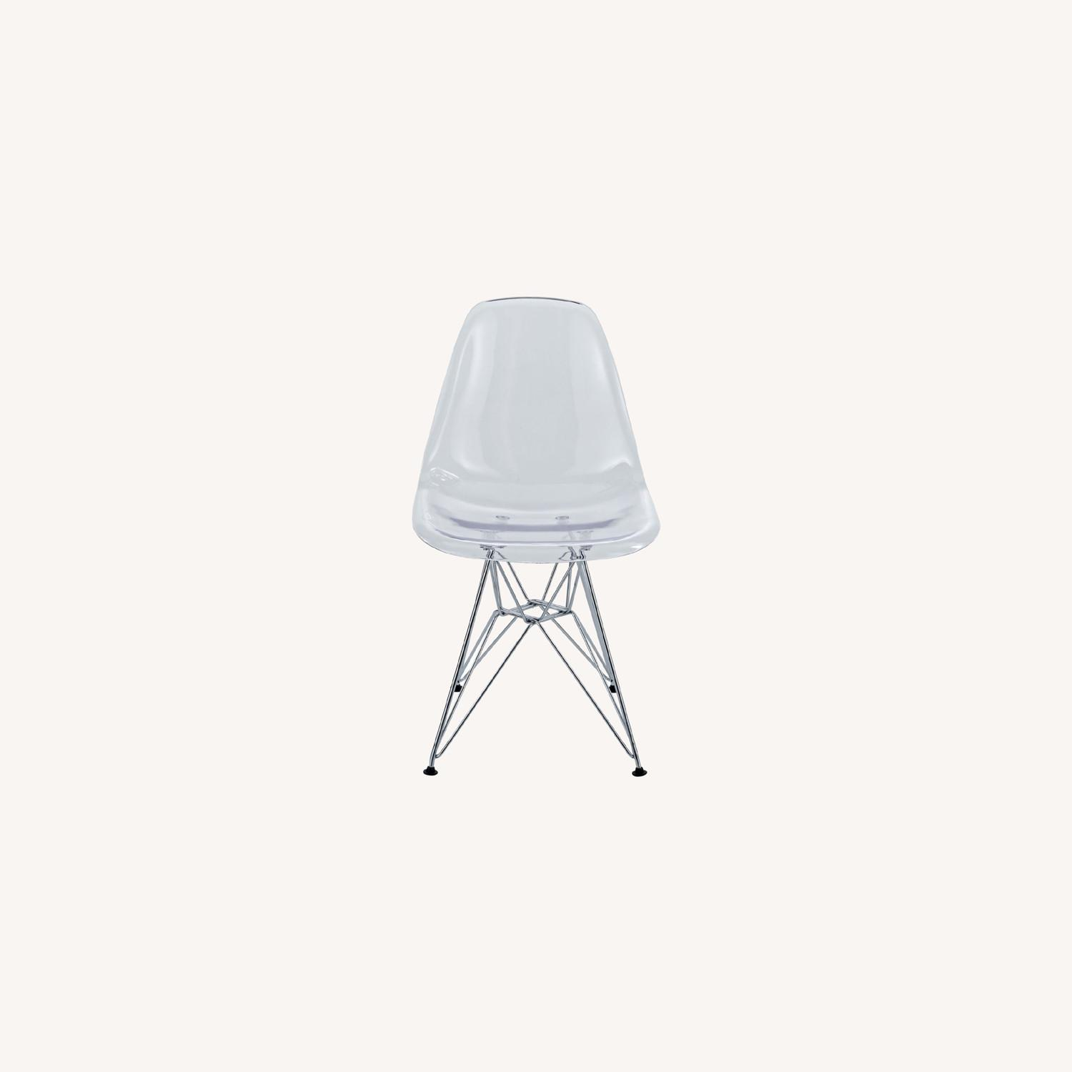 Modern Dining Chair In Clear Finish W/ Wire Legs - image-5