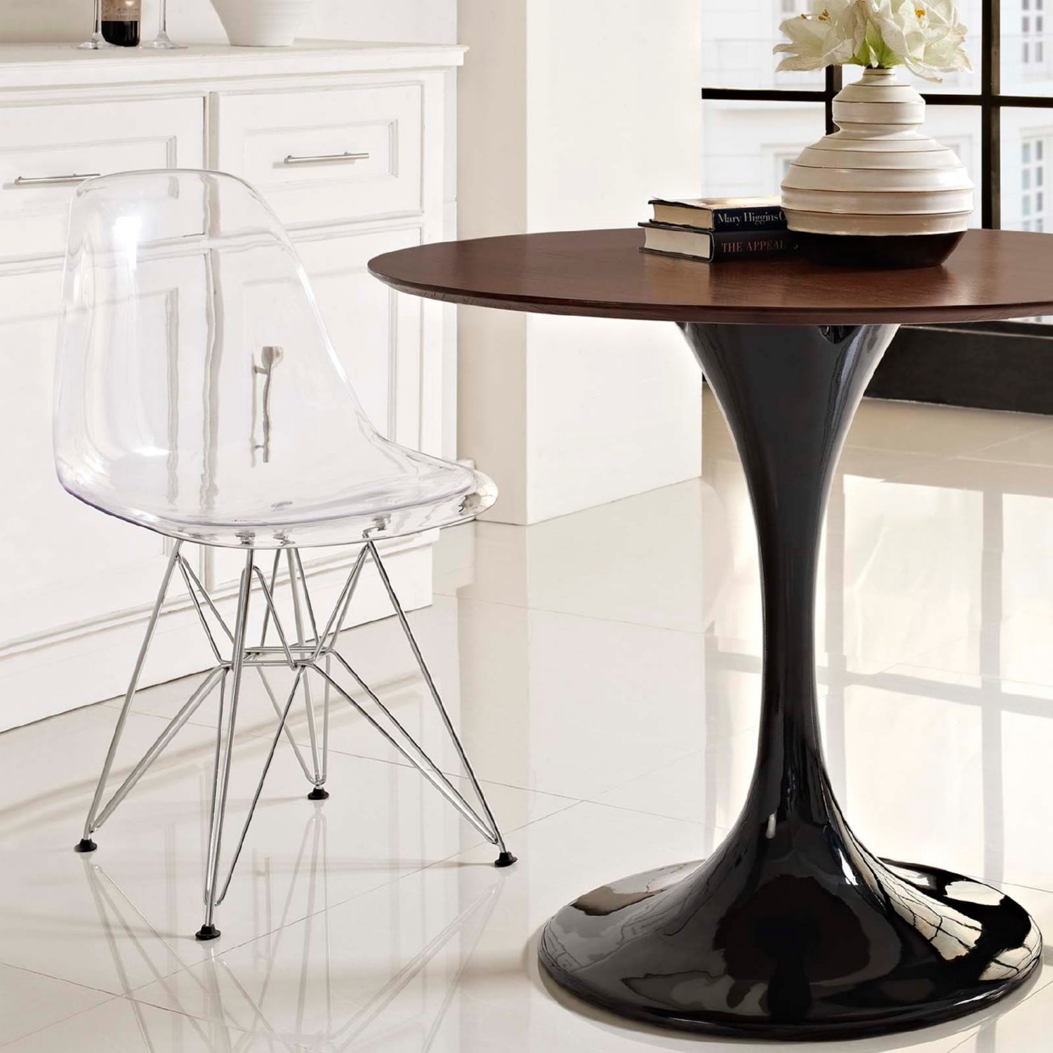 Modern Dining Chair In Clear Finish W/ Wire Legs - image-3