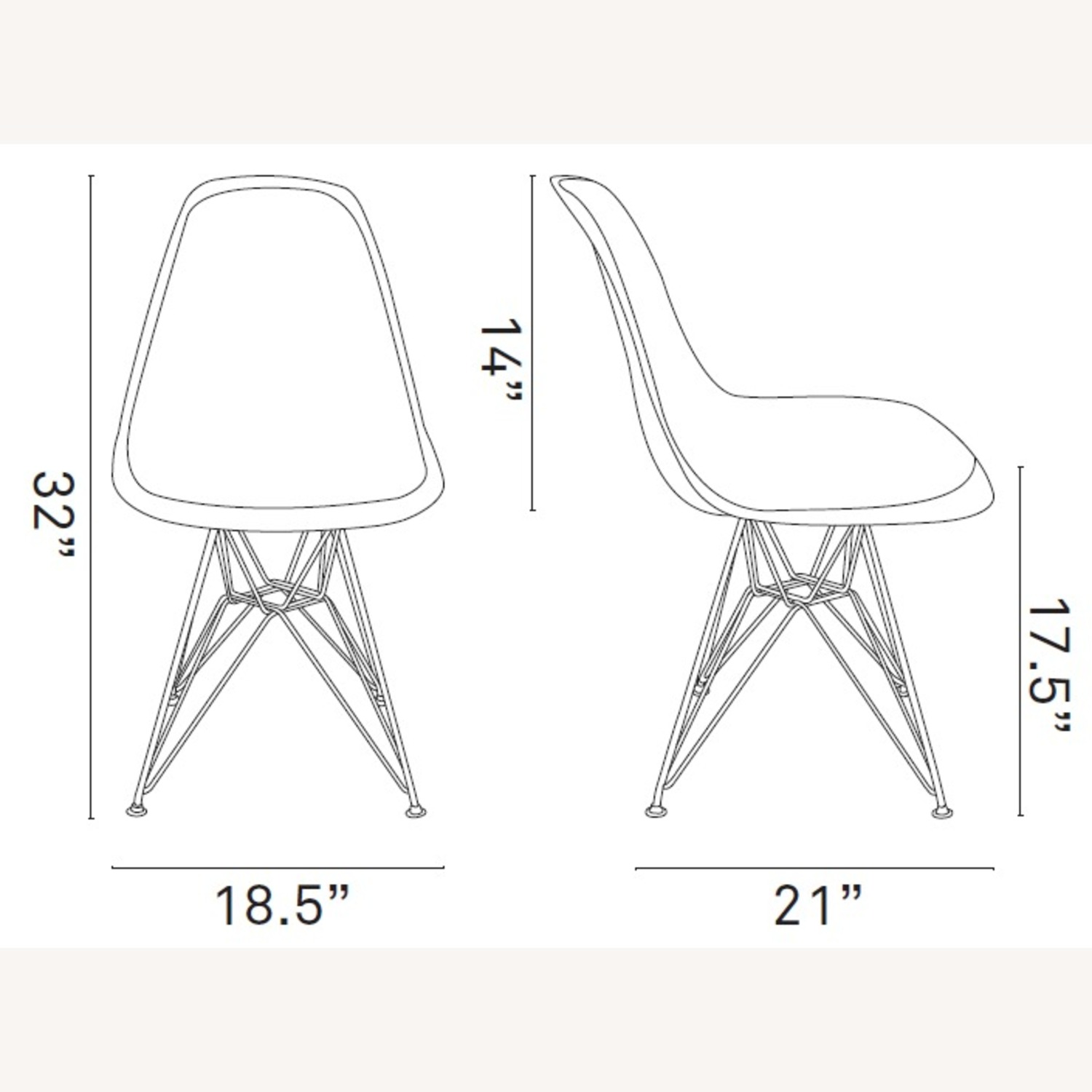 Modern Dining Chair In Clear Finish W/ Wire Legs - image-4