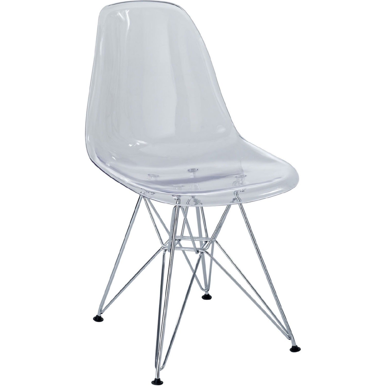 Modern Dining Chair In Clear Finish W/ Wire Legs - image-0