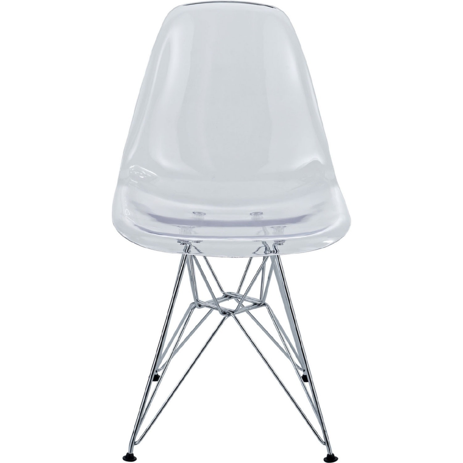 Modern Dining Chair In Clear Finish W/ Wire Legs - image-1