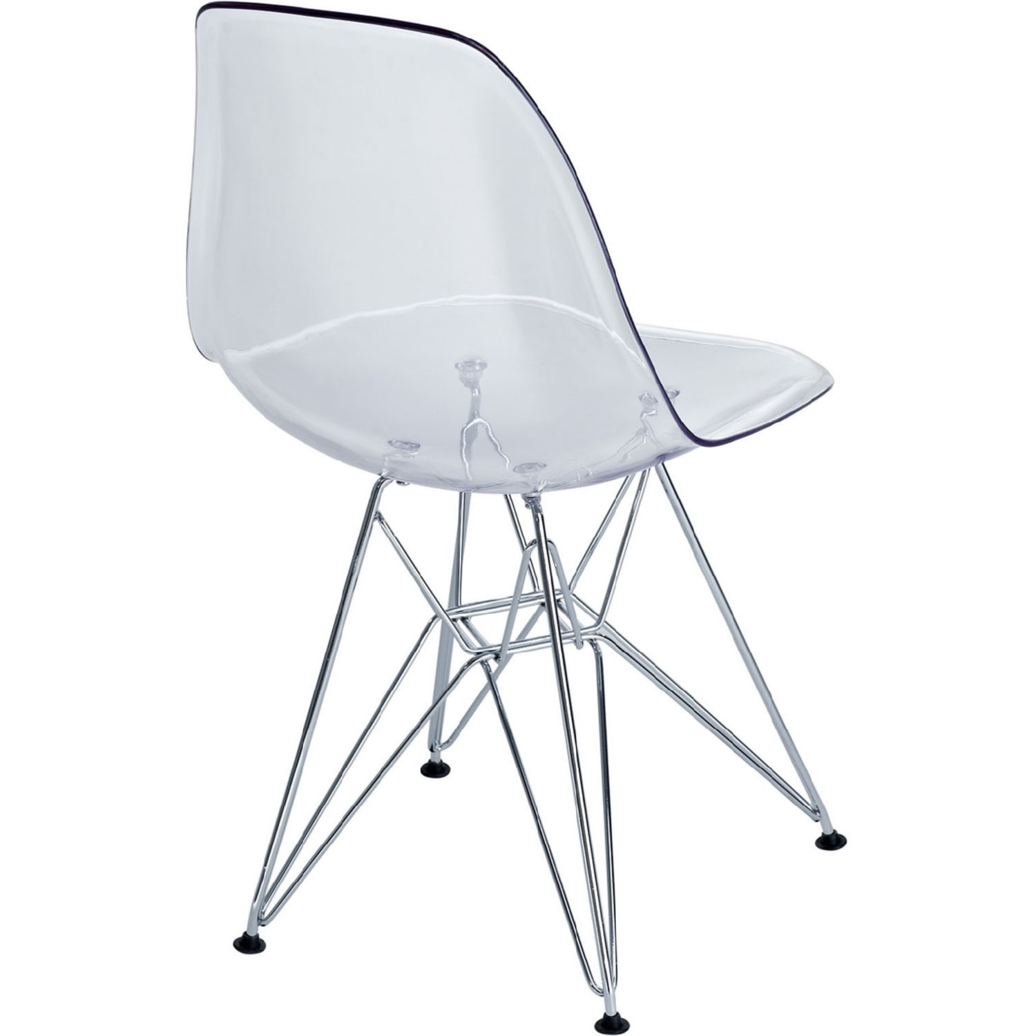 Modern Dining Chair In Clear Finish W/ Wire Legs - image-2