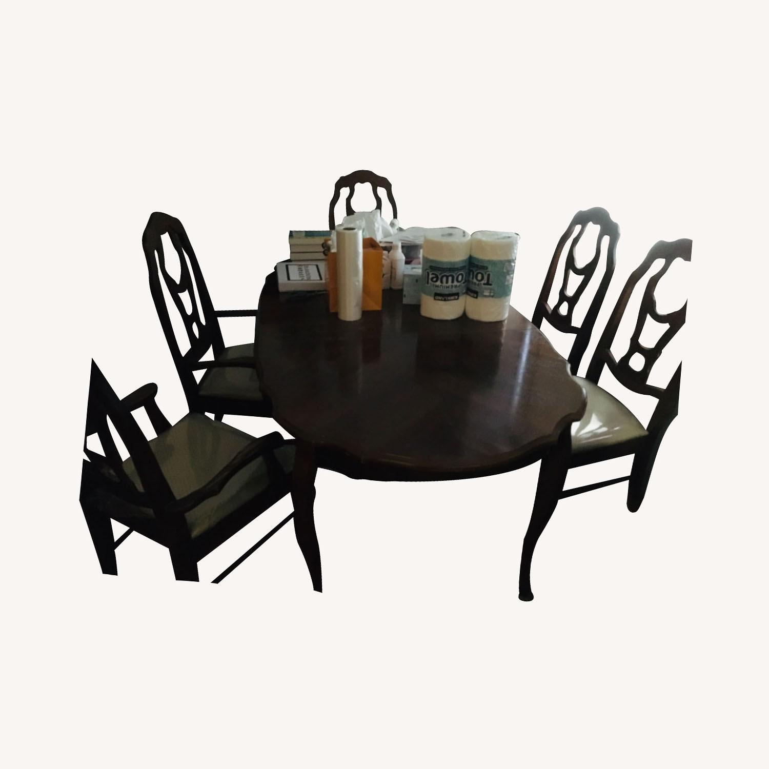Dining table set (6 chairs + table + ext leaf) - image-0