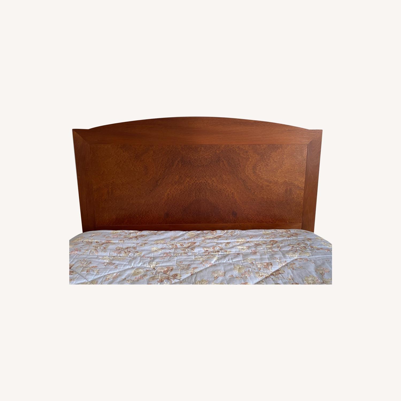 Dark Brown Wood Headboard Queen Bed - image-0