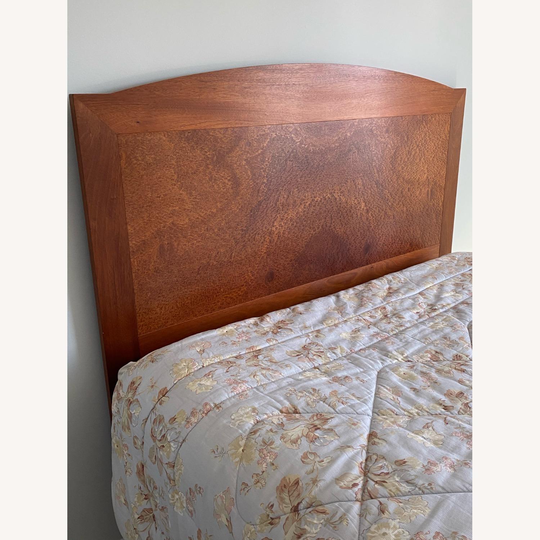 Dark Brown Wood Headboard Queen Bed - image-2