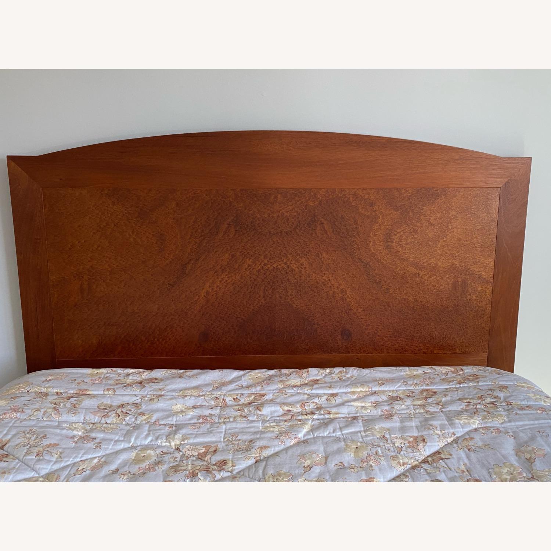 Dark Brown Wood Headboard Queen Bed - image-1