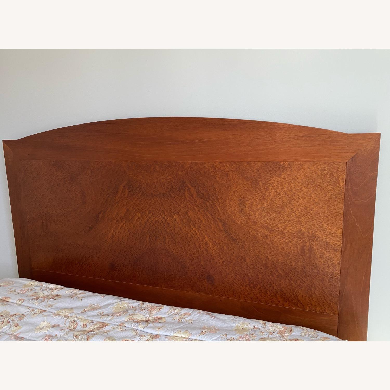Dark Brown Wood Headboard Queen Bed - image-3