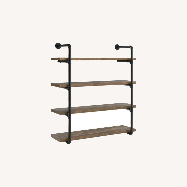 Wall Shelf In Rustic Oak W/ Open Shelves - image-7