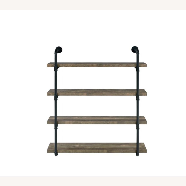 Wall Shelf In Rustic Oak W/ Open Shelves - image-1