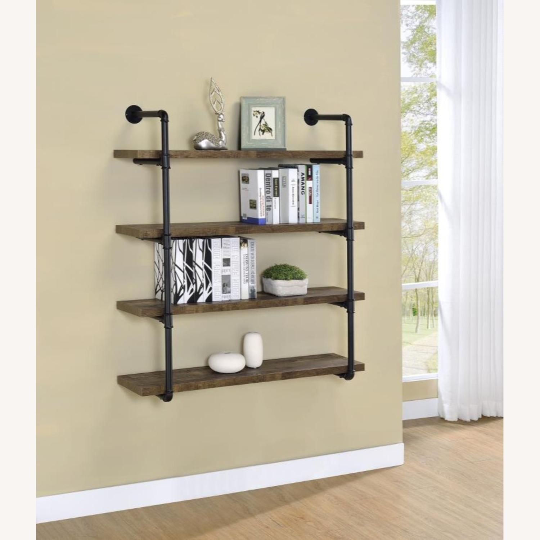 Wall Shelf In Rustic Oak W/ Open Shelves - image-5