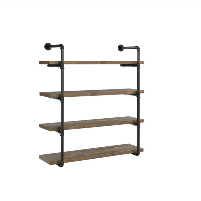 Wall Shelf In Rustic Oak W/ Open Shelves - image-0