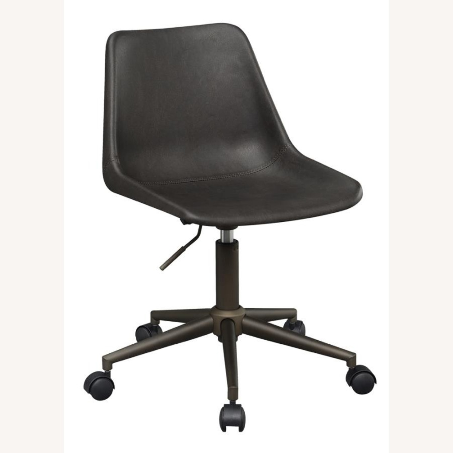 Office Chair In Brown Leatherette & Bronze Base - image-0