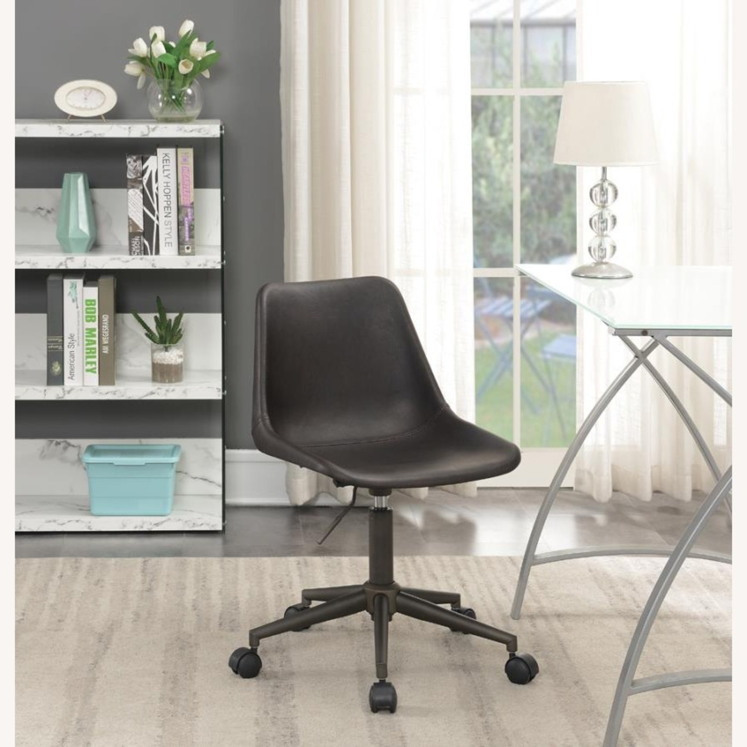 Office Chair In Brown Leatherette & Bronze Base - image-5