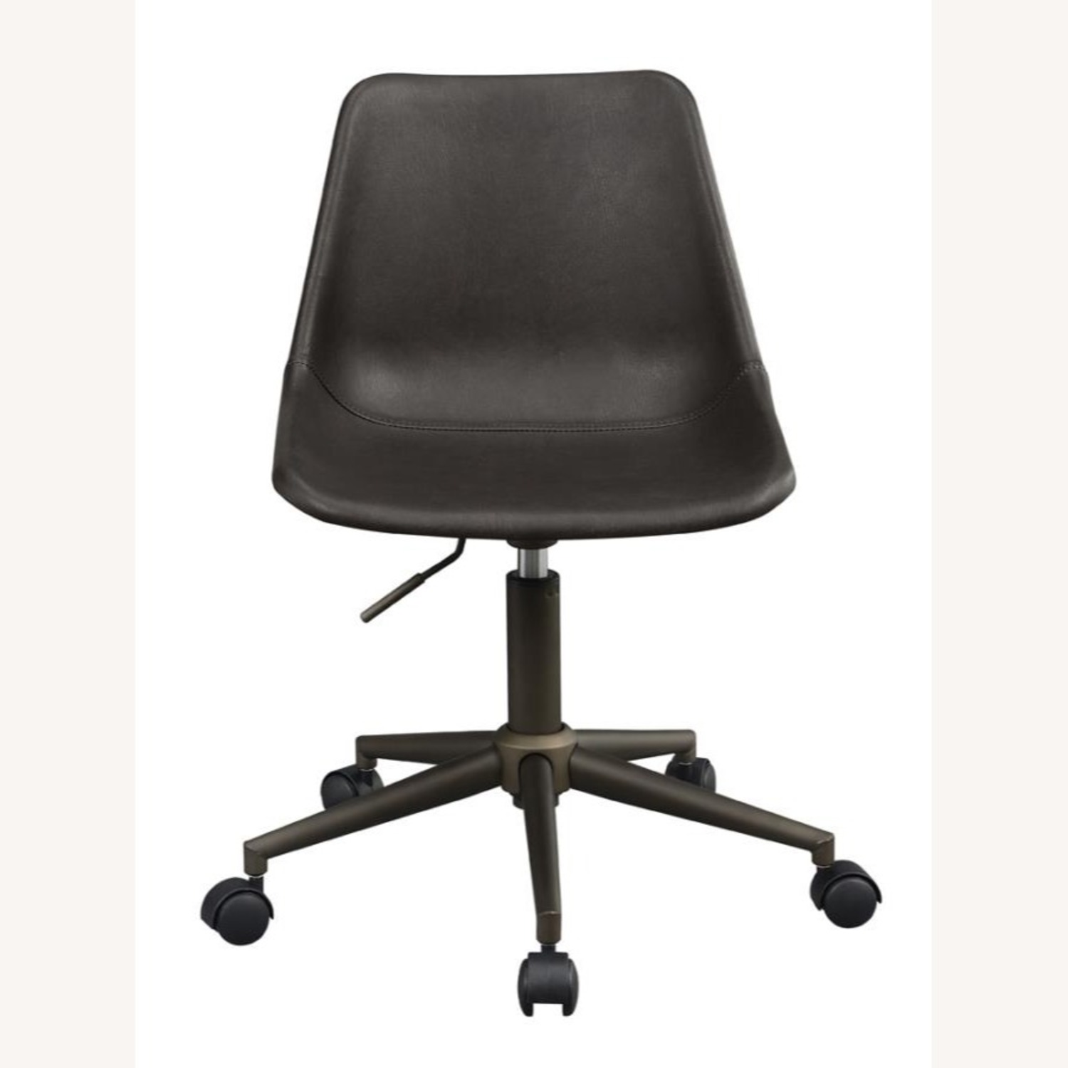 Office Chair In Brown Leatherette & Bronze Base - image-1
