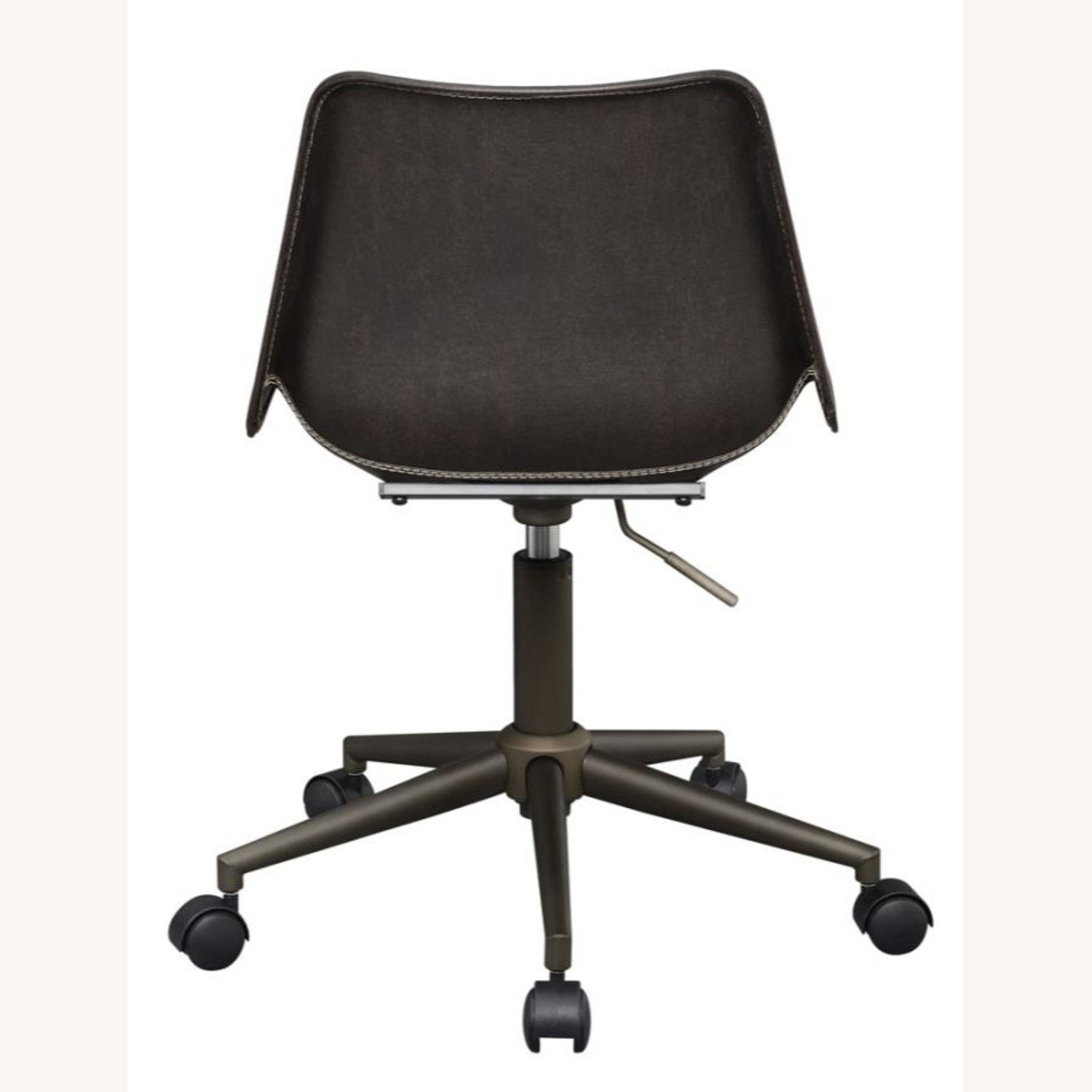 Office Chair In Brown Leatherette & Bronze Base - image-3
