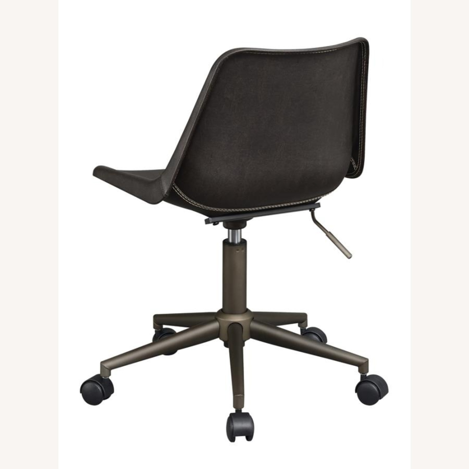 Office Chair In Brown Leatherette & Bronze Base - image-4