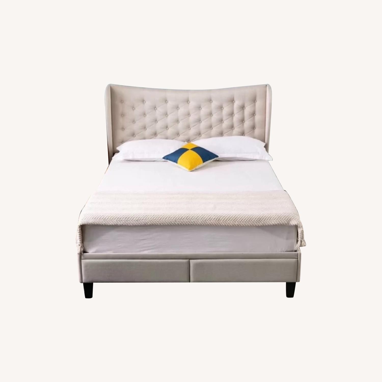 Wayfair Beige Upholstered Storage Platform Bed - image-0