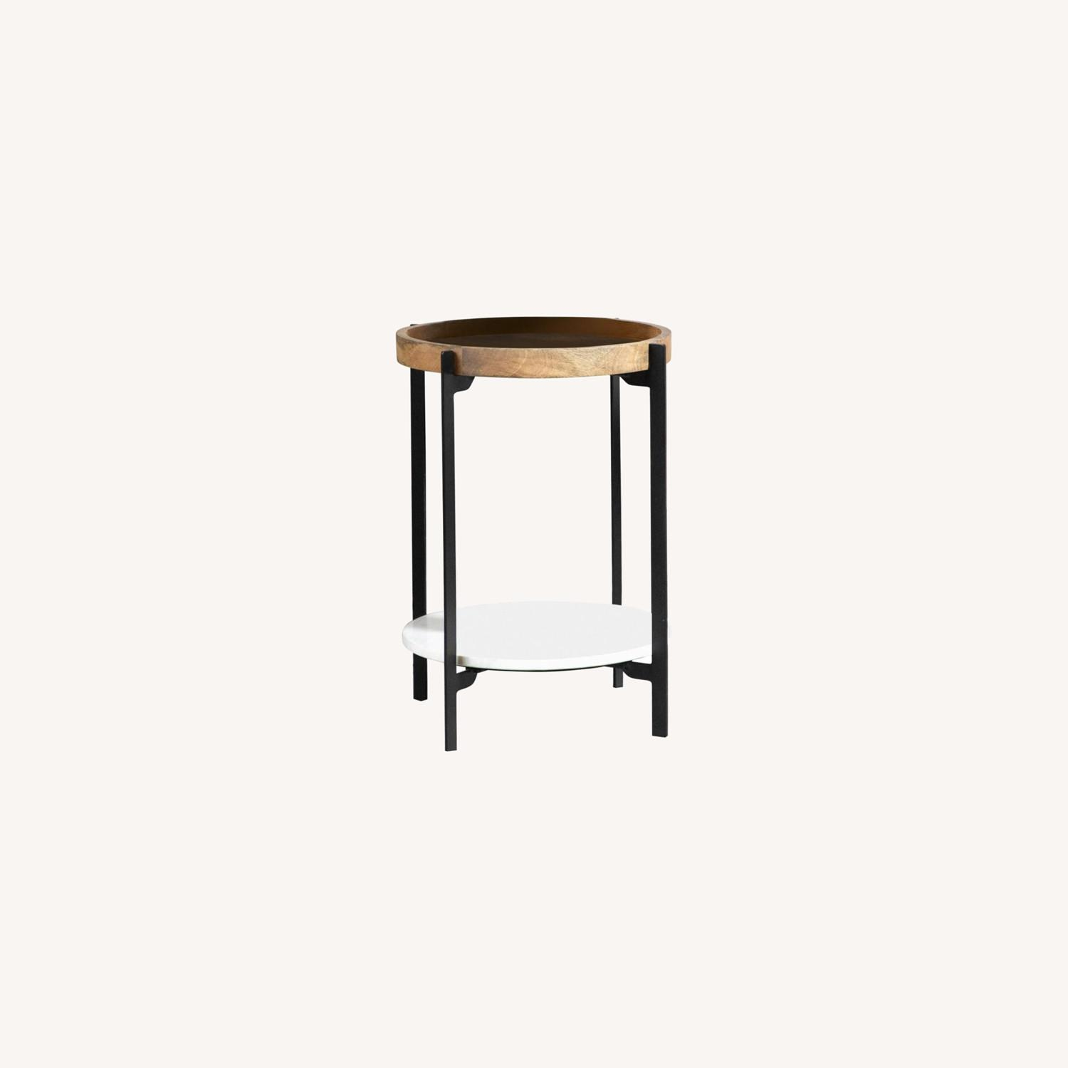 Accent Table In Solid Mango Top W/ Black Frame - image-3