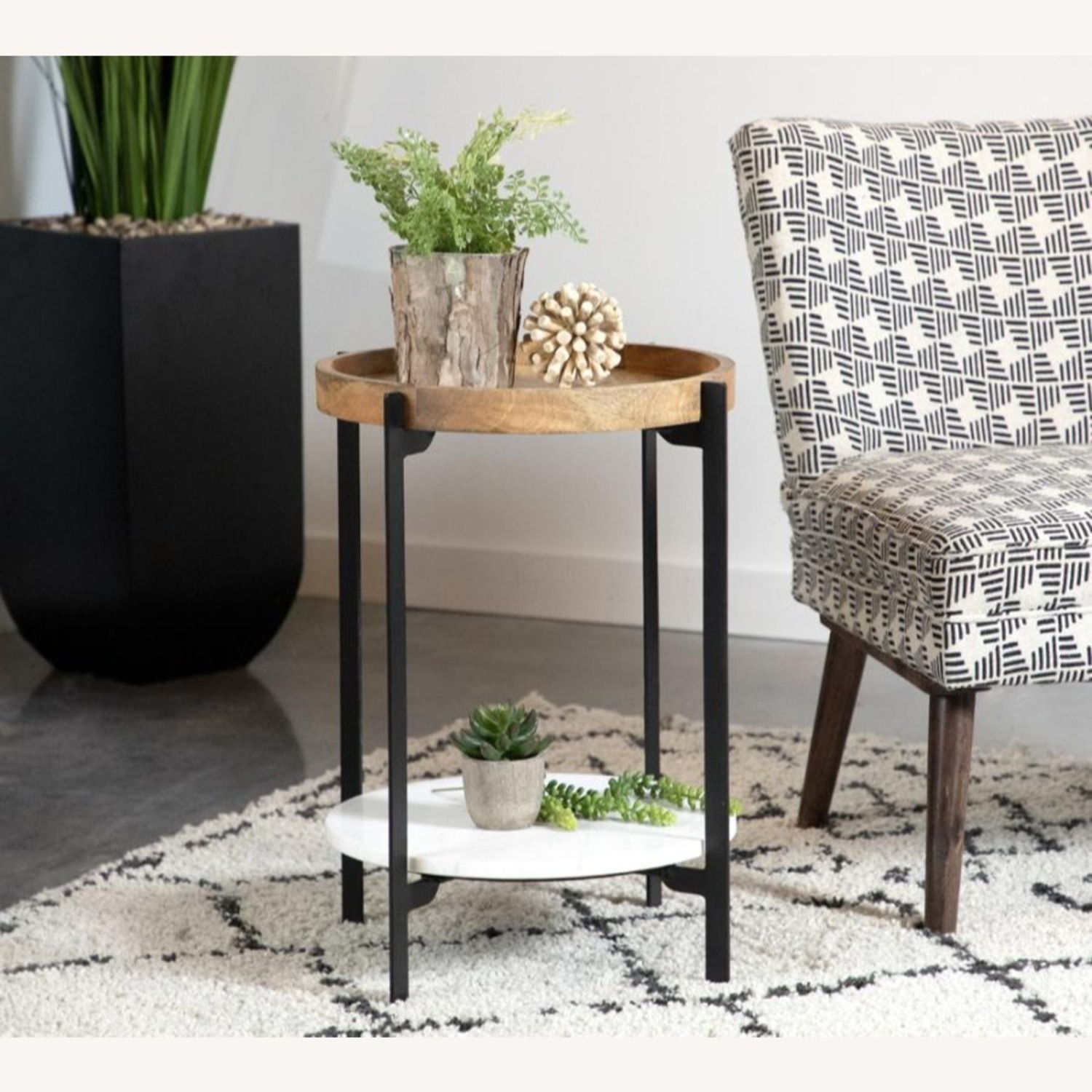 Accent Table In Solid Mango Top W/ Black Frame - image-1