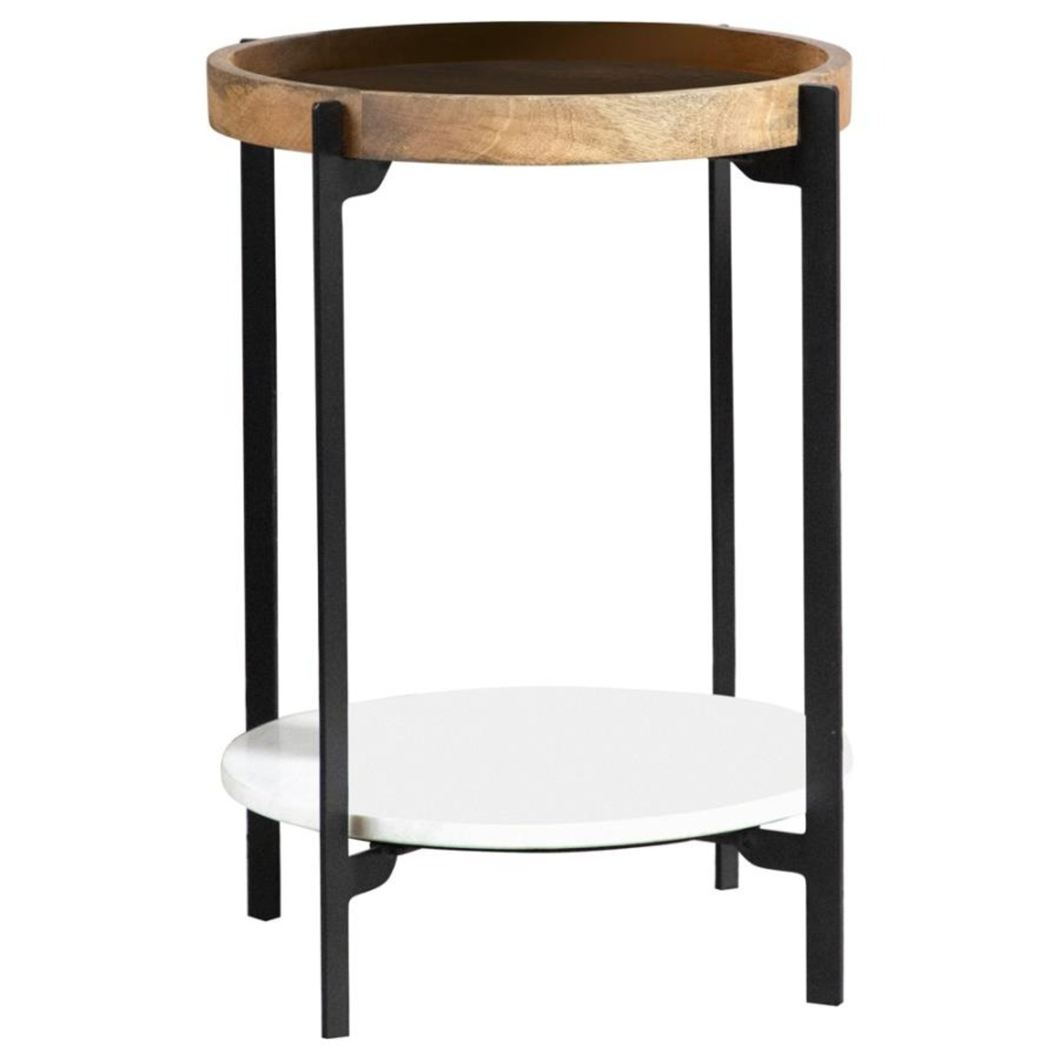 Accent Table In Solid Mango Top W/ Black Frame - image-0