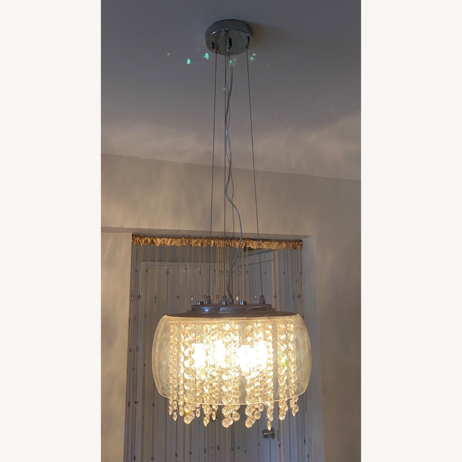 Modern Glass and Crystal Chandelier - image-1