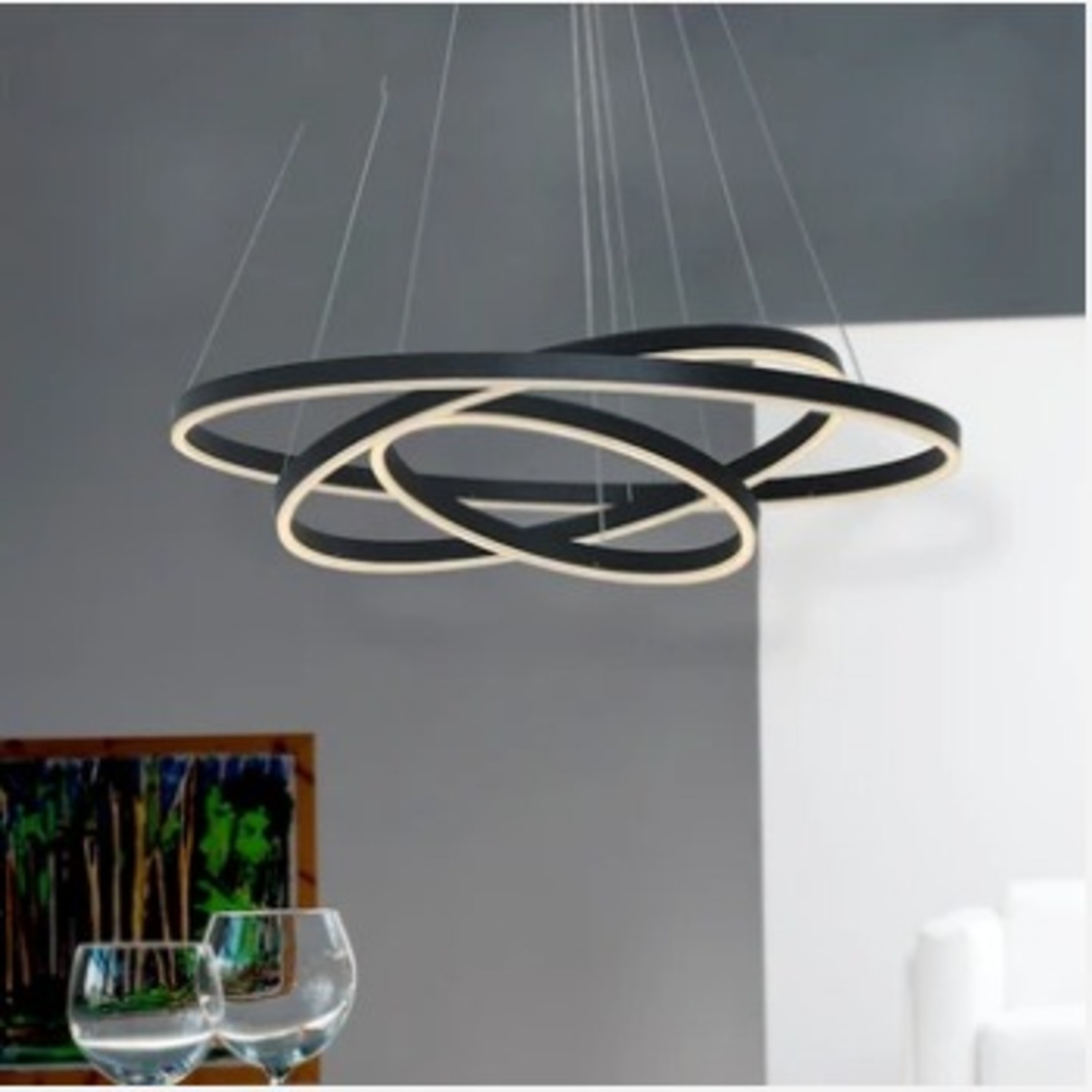 Modern Dimmable 3-Tier White LED Chandelier - image-2