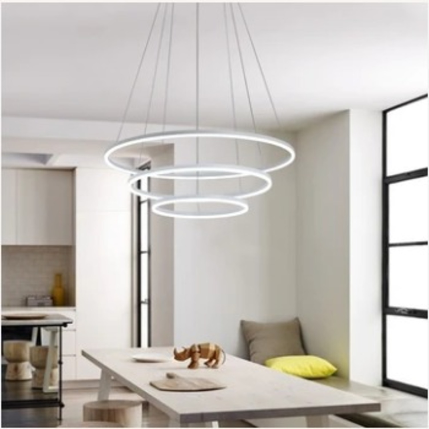 Modern Dimmable 3-Tier White LED Chandelier - image-1