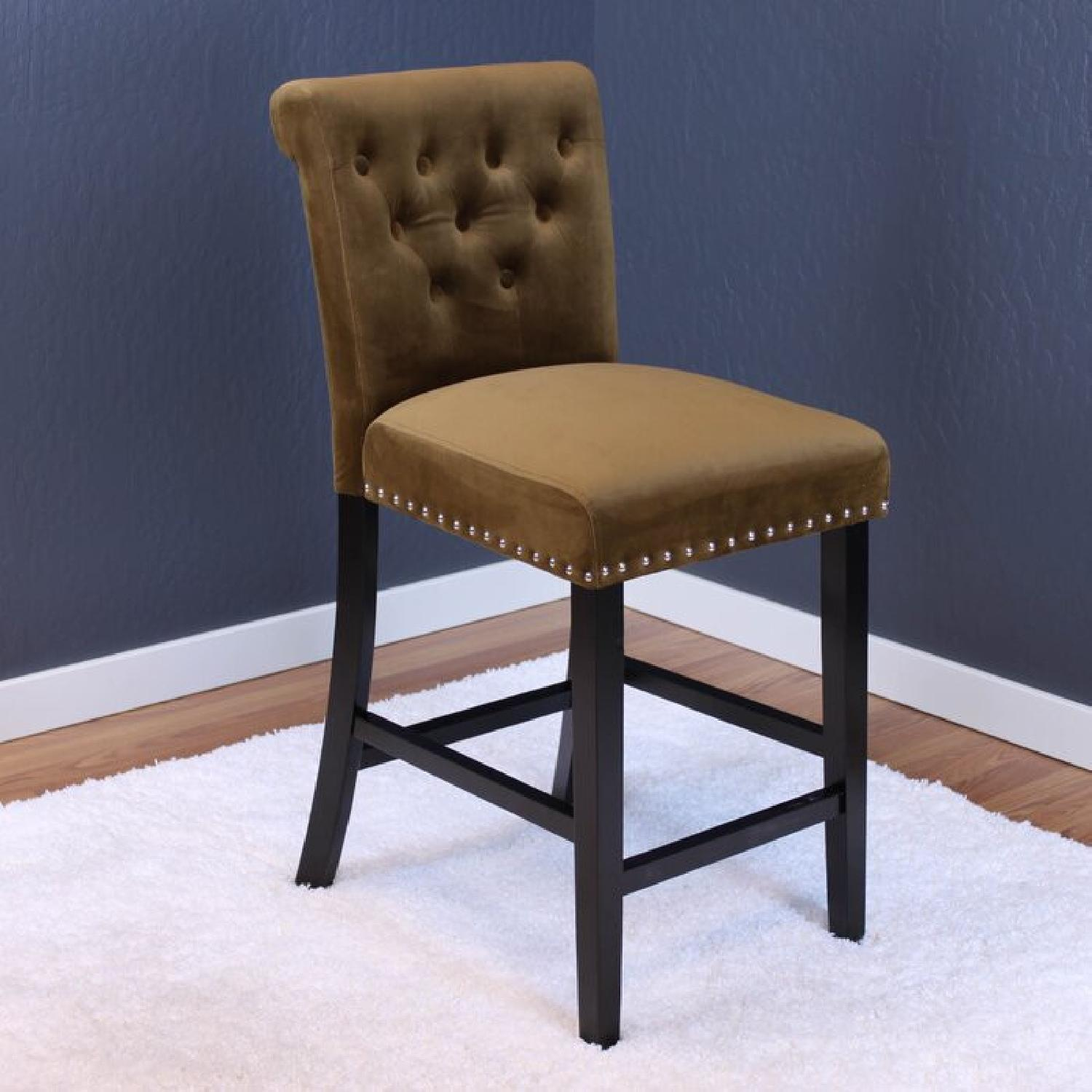 Taupe Velvet Counter Stools - image-4