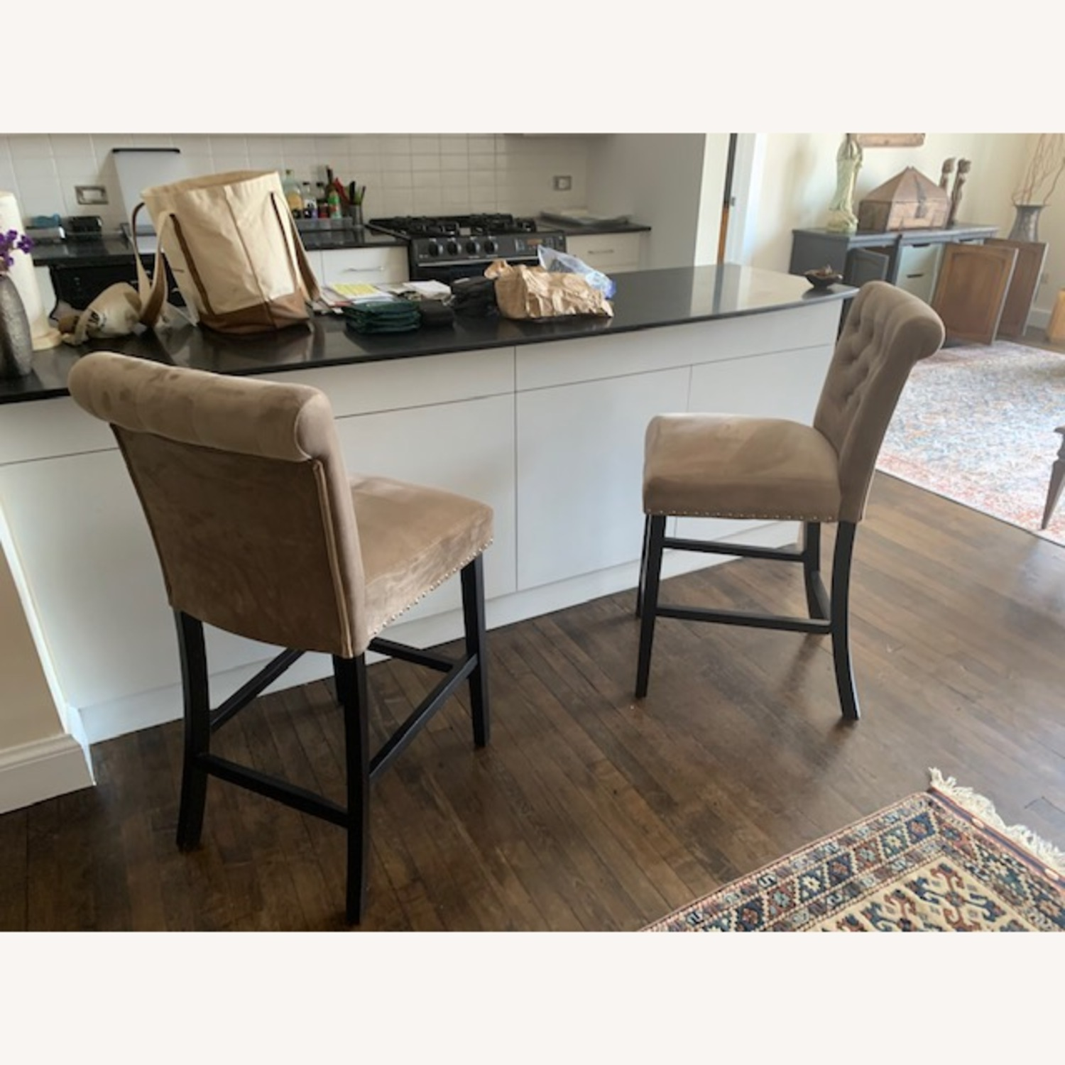 Taupe Velvet Counter Stools - image-1