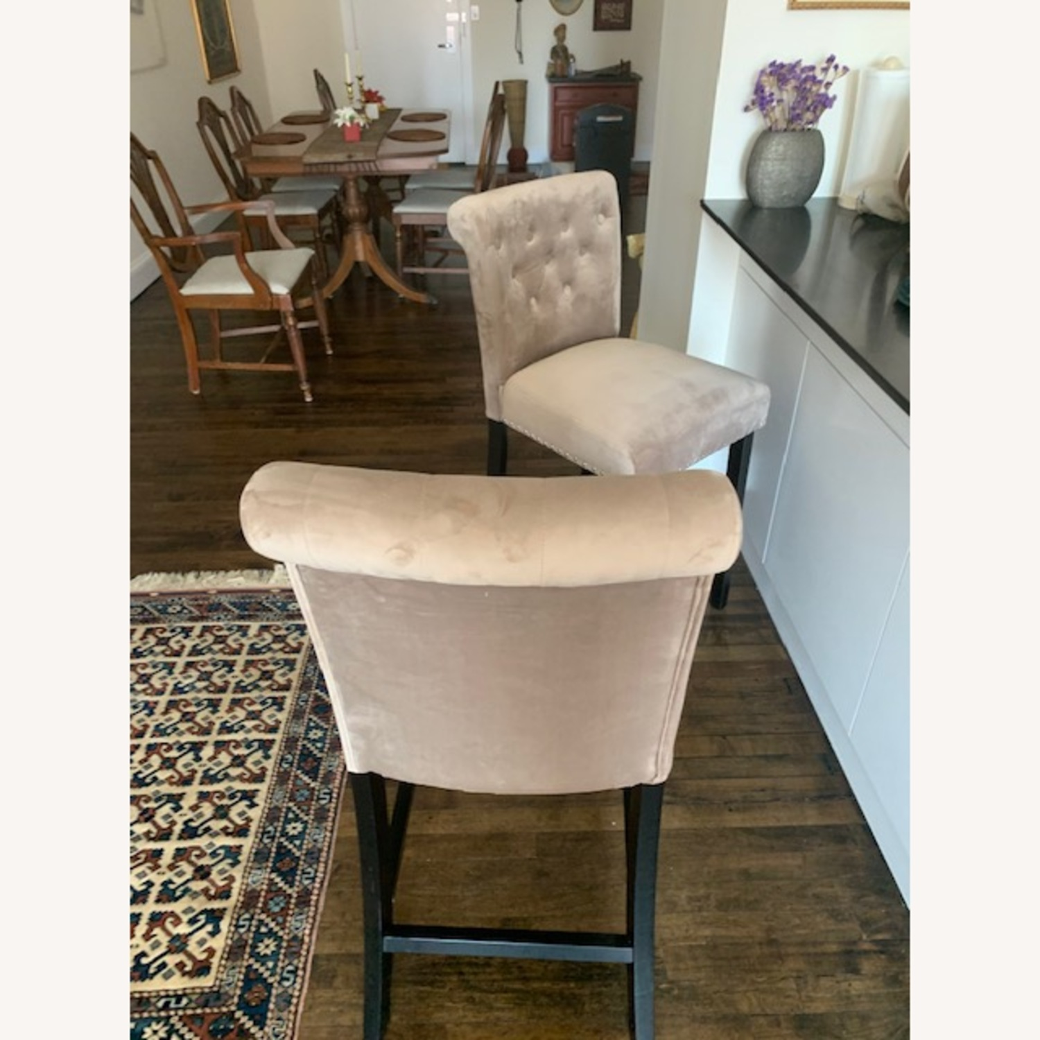 Taupe Velvet Counter Stools - image-3