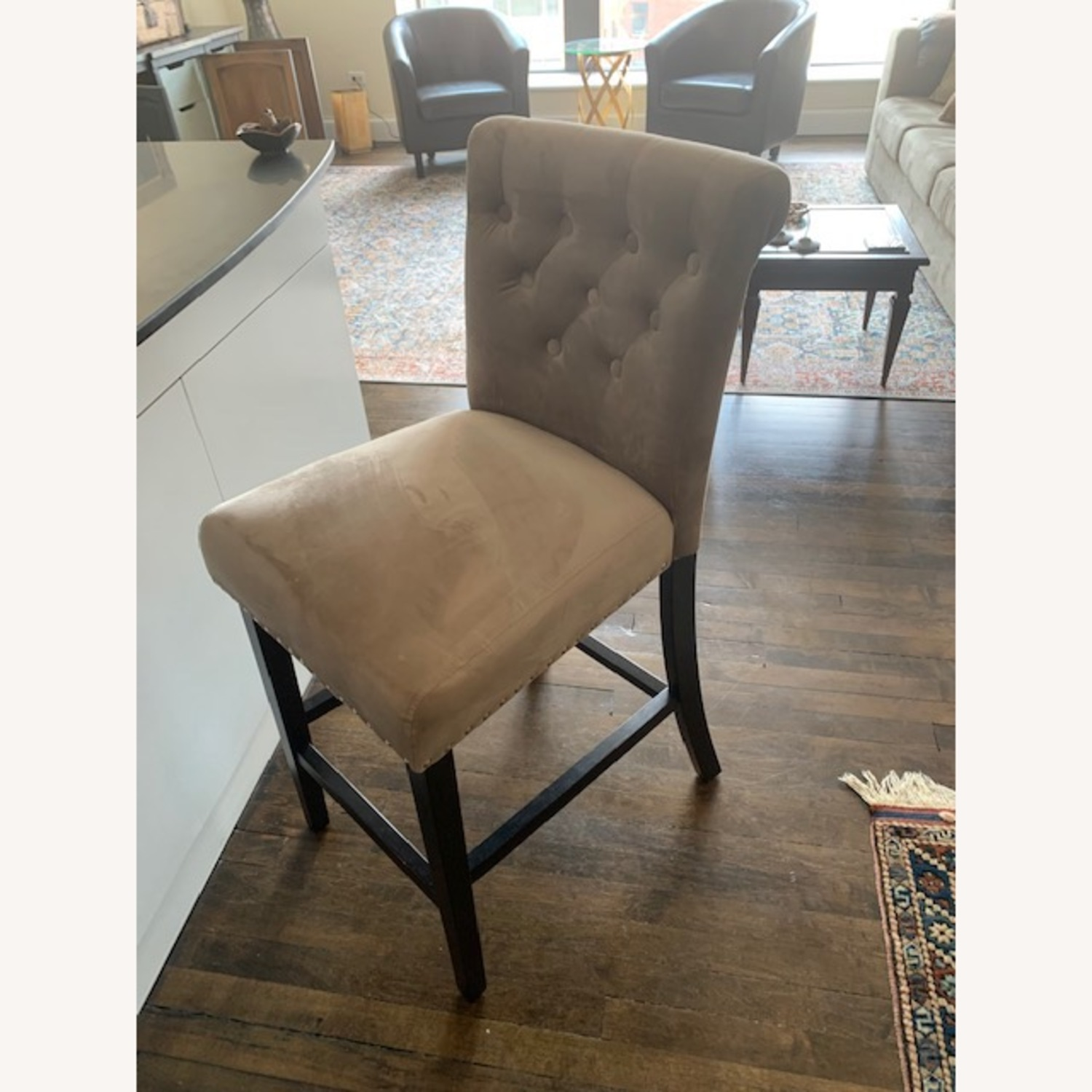 Taupe Velvet Counter Stools - image-2