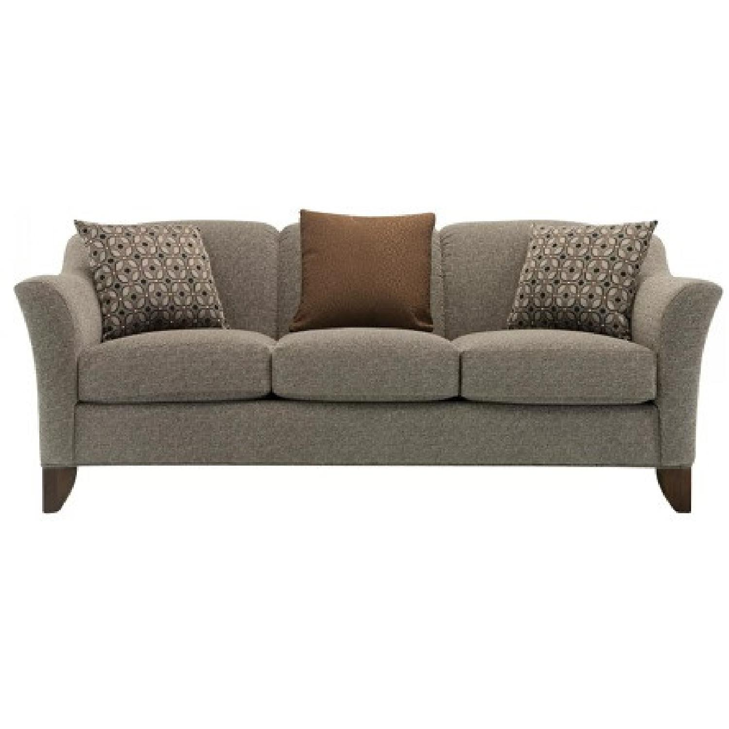 Raymour & FlaniganMuted Hunter Green Chenille 3-Seater Couch - image-6