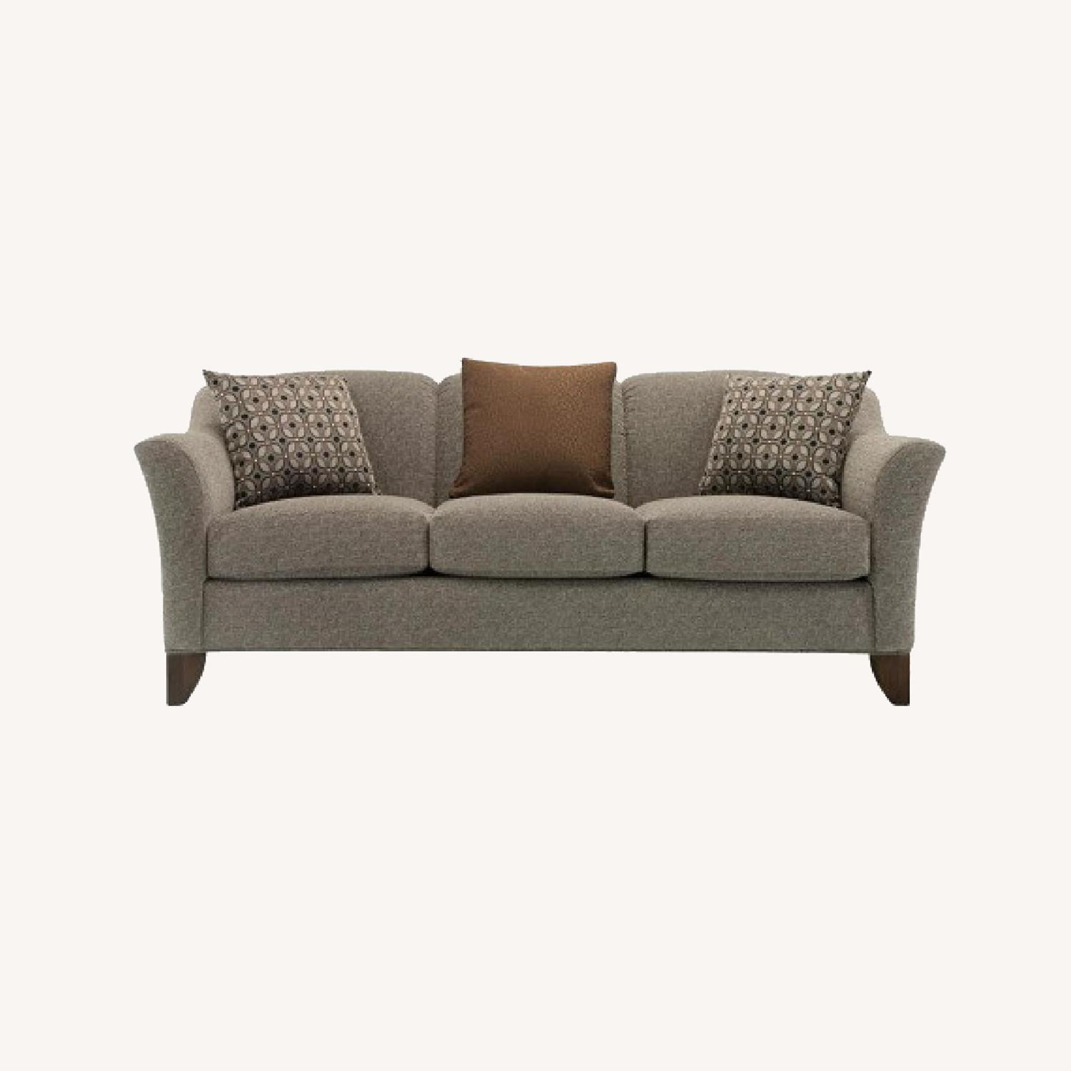 Raymour & FlaniganMuted Hunter Green Chenille 3-Seater Couch - image-0