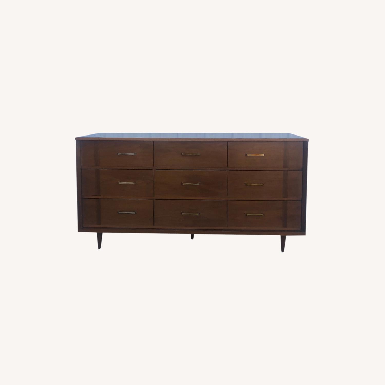 Mid Century 9 Drawer Dresser with Brass Hardware - image-0