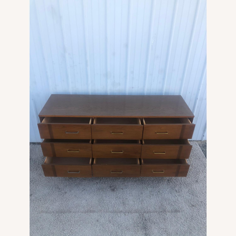 Mid Century 9 Drawer Dresser with Brass Hardware - image-8