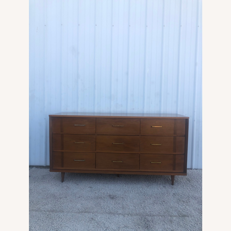 Mid Century 9 Drawer Dresser with Brass Hardware - image-1