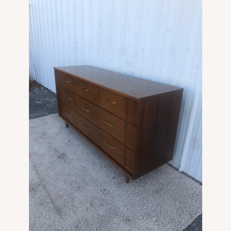 Mid Century 9 Drawer Dresser with Brass Hardware - image-2