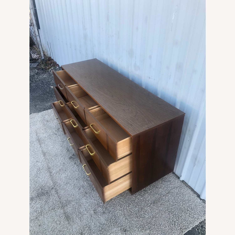 Mid Century 9 Drawer Dresser with Brass Hardware - image-6