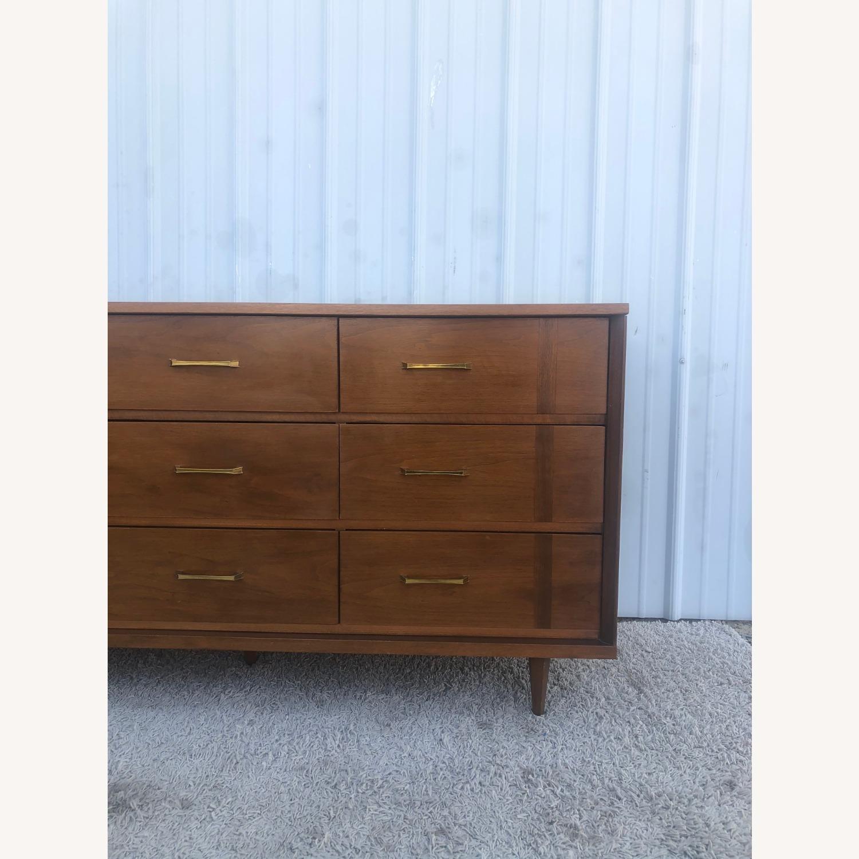 Mid Century 9 Drawer Dresser with Brass Hardware - image-12