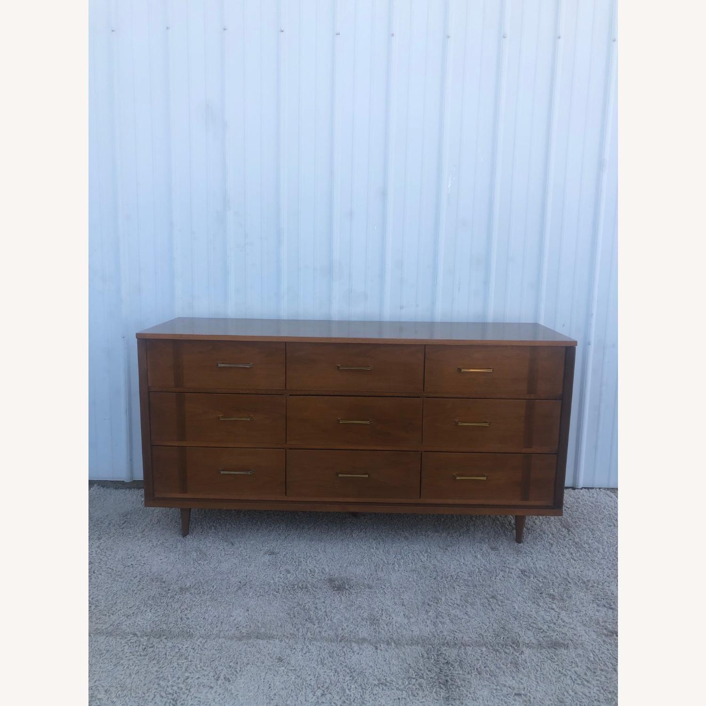 Mid Century 9 Drawer Dresser with Brass Hardware - image-11