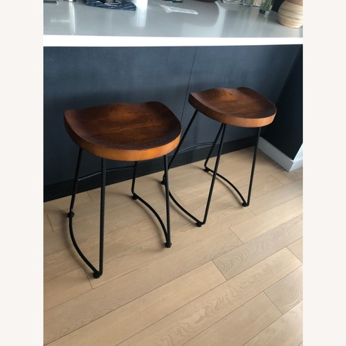 Used CISCO Brothers Solid Wood Counter Stools -pair for sale on AptDeco